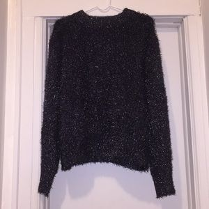 Women's Black H&M Sparkly Tinsel Sweater, Small